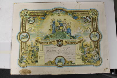 Certificate of the Independent Order of Oddfellows-Manchester Unity Friendly Society