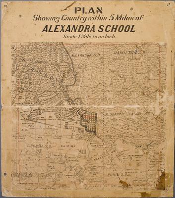 Plan Showing Country Within 5 Miles of Alexandra School