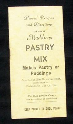 Proved Recipes and Directions For Use of Maddrens Pastry Mix