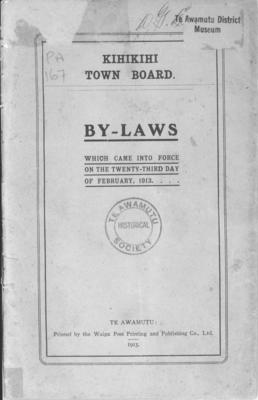 Kihikihi Town Board By-Laws, 1913