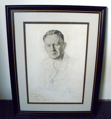 Framed drawing of Lindsay Rogers