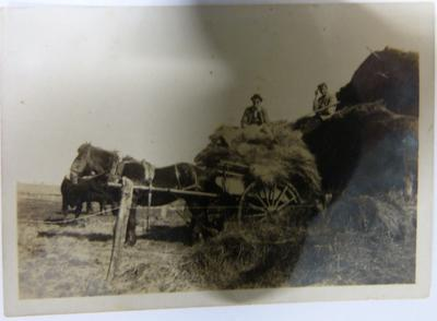 Photograph of Men Piling Hay