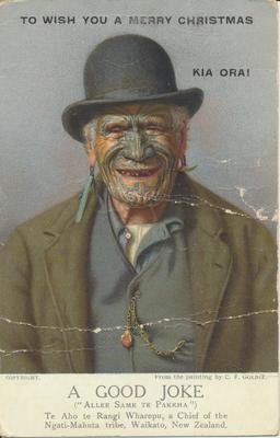 """""""A Good Joke (Allee Same te Pakeha)"""", Painting by C.F. Goldie"""