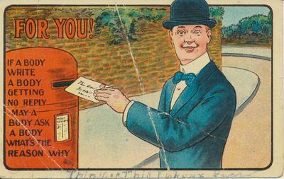 Cartoon Man Posting a Letter