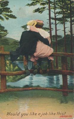 Cartoon Couple Sitting on a Fence