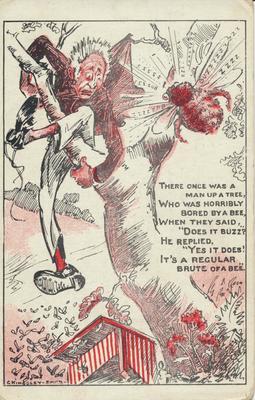 Cartoon- Man up a Tree