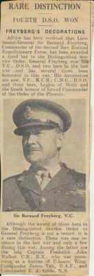 Lieutenant-General Sir Bernard Freyberg Article