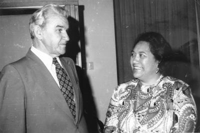 Te Arikinui Dame Te Atairangikaahu and Mayor Ned Freeman