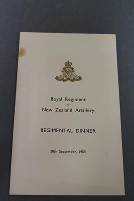 Regimental Dinner Menu